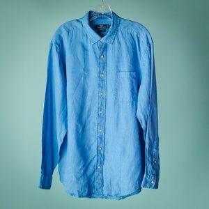 Vineyard Vines Men's L Blue Linen Button Down